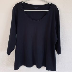 Eileen Fisher Black 3/4 Sleeve Stretch Top